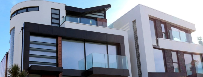 A modern home with glass windows